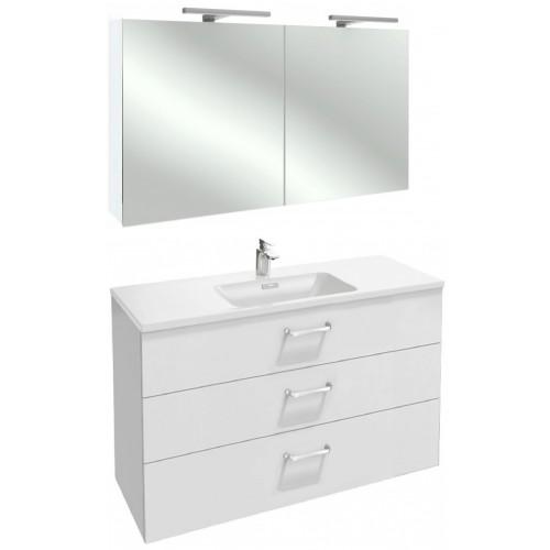 Мебель для ванной Jacob Delafon Vox 120 подвесная с 3-мя ящиками с изогнутой ручкой белый блестящий лак с зеркалом-шкафом