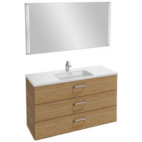 Мебель для ванной Jacob Delafon Vox 120 подвесная с 3-мя ящиками с изогнутой ручкой ореховое дерево