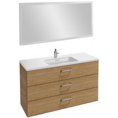 Мебель для ванной Jacob Delafon Vox 120 подвесная с 3-мя ящиками с изогнутой ручкой ореховое дерево с зеркалом со светодиодной подсветкой