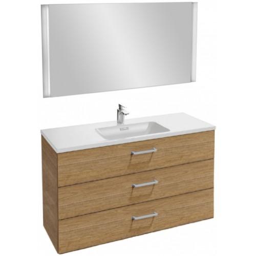 Мебель для ванной Jacob Delafon Vox 120 подвесная с 3-мя ящиками с прямоугольной ручкой ореховое дерево