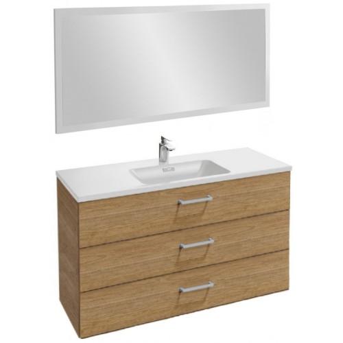 Мебель для ванной Jacob Delafon Vox 120 подвесная с 3-мя ящиками с прямоугольной ручкой ореховое дерево с зеркалом со светодиодной подсветкой