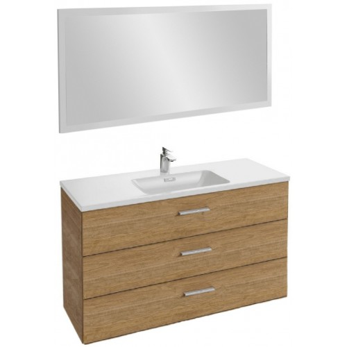 Мебель для ванной Jacob Delafon Vox 120 подвесная с 3-мя ящиками с прямой ручкой ореховое дерево с зеркалом со светодиодной подсветкой