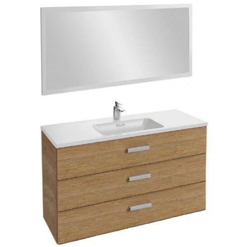 Мебель для ванной Jacob Delafon Vox 120 подвесная с 3-мя ящиками с угловой ручкой ореховое дерево с зеркалом со светодиодной подсветкой