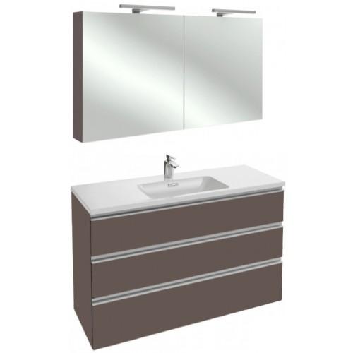 Мебель для ванной Jacob Delafon Vox 120 подвесная с 3-мя ящиками светло-коричневая глянцевая с зеркалом-шкафом