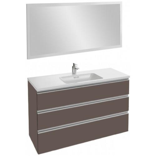 Мебель для ванной Jacob Delafon Vox 120 подвесная с 3-мя ящиками светло-коричневая глянцевая с зеркалом со светодиодной подсветкой