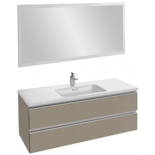 Мебель для ванной Jacob Delafon Vox 120 подвесная серая кожа с зеркалом со светодиодной подсветкой