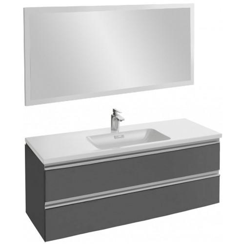 Мебель для ванной Jacob Delafon Vox 120 подвесная серый антрацит глянцевый с зеркалом со светодиодной подсветкой