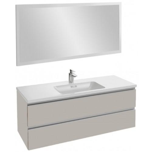 Мебель для ванной Jacob Delafon Vox 120 подвесная серый титан глянцевый с зеркалом со светодиодной подсветкой