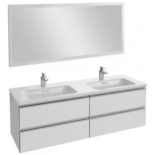 Мебель для ванной Jacob Delafon Vox 140 подвесная белая блестящая с зеркалом с подсветкой