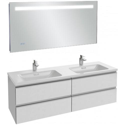 Мебель для ванной Jacob Delafon Vox 140 подвесная белая блестящая с зеркалом с подсветкой и часами
