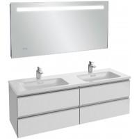 Мебель для ванной Jacob Delafon Vox 140 подвесная белый блестящий лак с зеркалом с подсветкой и часами