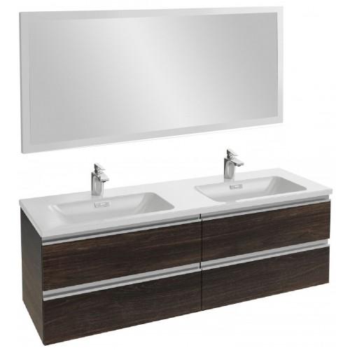Мебель для ванной Jacob Delafon Vox 140 подвесная черное дерево с зеркалом с подсветкой