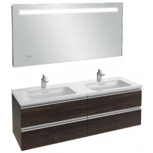Мебель для ванной Jacob Delafon Vox 140 подвесная черное дерево с зеркалом с подсветкой и часами