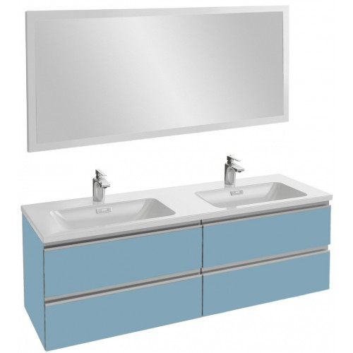 Мебель для ванной Jacob Delafon Vox 140 подвесная матовый аквамарин с зеркалом с подсветкой