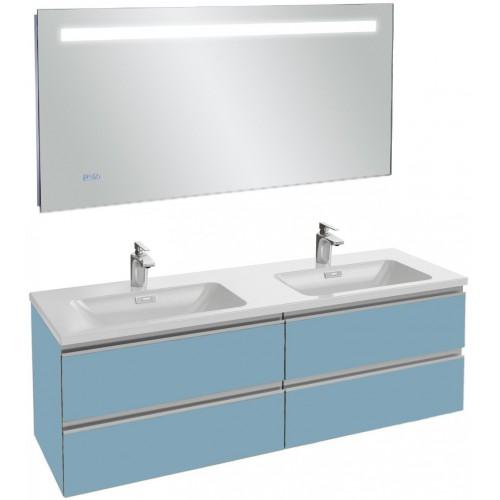 Мебель для ванной Jacob Delafon Vox 140 подвесная матовый аквамарин с зеркалом с подсветкой и часами