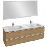 Мебель для ванной Jacob Delafon Vox 140 подвесная ореховое дерево с зеркалом с подсветкой