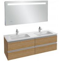 Мебель для ванной Jacob Delafon Vox 140 подвесная ореховое дерево с зеркалом с подсветкой и часами