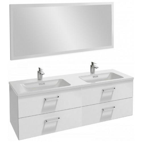Мебель для ванной Jacob Delafon Vox 140 подвесная с 4-мя ящиками с изогнутой ручкой белый блестящий лак с зеркалом с подсветкой