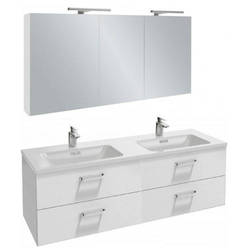 Мебель для ванной Jacob Delafon Vox 140 подвесная с 4-мя ящиками с изогнутой ручкой белый блестящий лак с зеркалом-шкафом