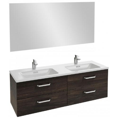 Мебель для ванной Jacob Delafon Vox 140 подвесная с 4-мя ящиками с изогнутой ручкой черное дерево