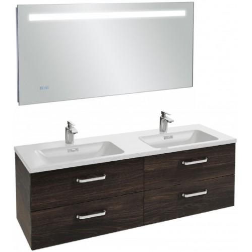 Мебель для ванной Jacob Delafon Vox 140 подвесная с 4-мя ящиками с изогнутой ручкой черное дерево с зеркалом с подсветкой и часами