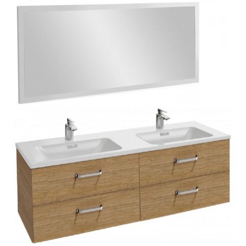 Мебель для ванной Jacob Delafon Vox 140 подвесная с 4-мя ящиками с изогнутой ручкой ореховое дерево с зеркалом с подсветкой