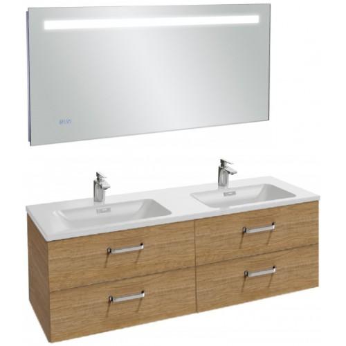 Мебель для ванной Jacob Delafon Vox 140 подвесная с 4-мя ящиками с изогнутой ручкой ореховое дерево с зеркалом с подсветкой и часами