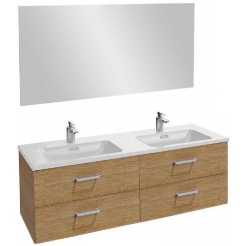 Мебель для ванной Jacob Delafon Vox 140 подвесная с 4-мя ящиками с прямоугольной ручкой ореховое дерево