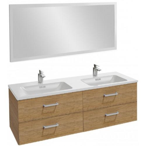 Мебель для ванной Jacob Delafon Vox 140 подвесная с 4-мя ящиками с прямоугольной ручкой ореховое дерево с зеркалом с подсветкой
