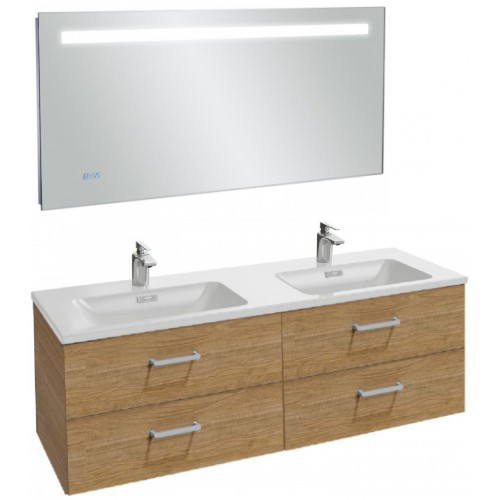 Мебель для ванной Jacob Delafon Vox 140 подвесная с 4-мя ящиками с прямоугольной ручкой ореховое дерево с зеркалом с подсветкой и часами