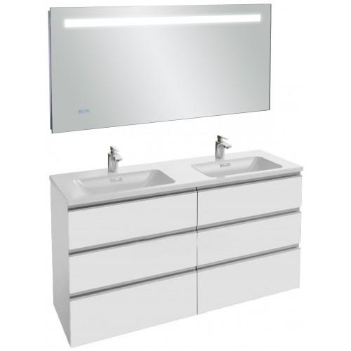Мебель для ванной Jacob Delafon Vox 140 подвесная с 6 ящиками белый блестящий лак