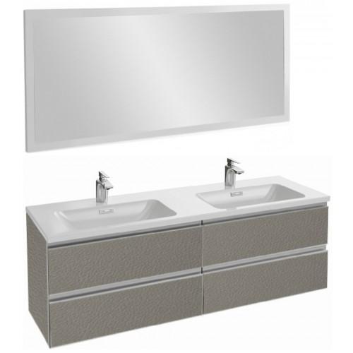 Мебель для ванной Jacob Delafon Vox 140 подвесная серая кожа с зеркалом с подсветкой