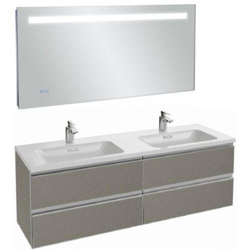 Мебель для ванной Jacob Delafon Vox 140 подвесная серая кожа с зеркалом с подсветкой и часами
