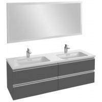 Мебель для ванной Jacob Delafon Vox 140 подвесная серый антрацит глянцевый с зеркалом с подсветкой