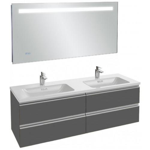 Мебель для ванной Jacob Delafon Vox 140 подвесная серый антрацит глянцевый с зеркалом с подсветкой и часами