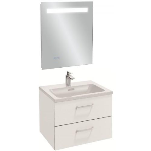 Мебель для ванной Jacob Delafon Vox 60 подвесная с 2-мя ящиками с изогнутой ручкой белая блестящая