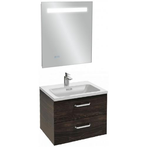 Мебель для ванной Jacob Delafon Vox 60 подвесная с 2-мя ящиками с изогнутой ручкой черное дерево