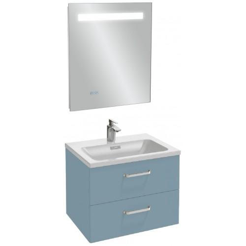 Мебель для ванной Jacob Delafon Vox 60 подвесная с 2-мя ящиками с изогнутой ручкой матовый аквамарин