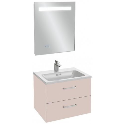 Мебель для ванной Jacob Delafon Vox 60 подвесная с 2-мя ящиками с изогнутой ручкой пыльная роза сатин