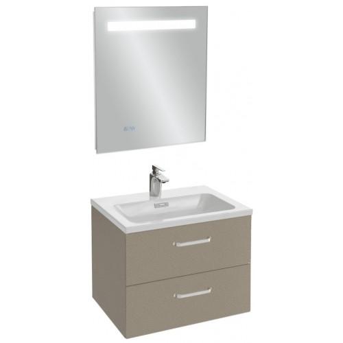 Мебель для ванной Jacob Delafon Vox 60 подвесная с 2-мя ящиками с изогнутой ручкой серая кожа