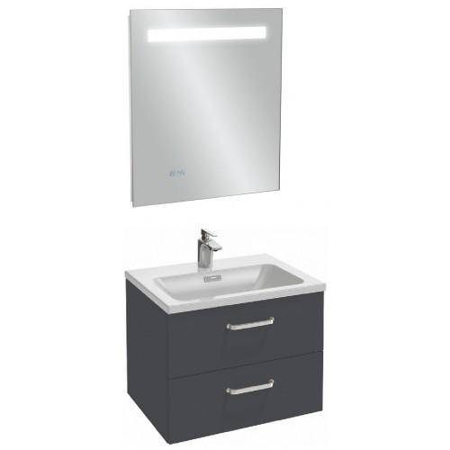 Мебель для ванной Jacob Delafon Vox 60 подвесная с 2-мя ящиками с изогнутой ручкой серый антрацит глянцевый