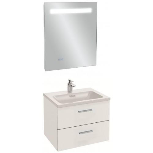 Мебель для ванной Jacob Delafon Vox 60 подвесная с 2-мя ящиками с прямой ручкой белая блестящая