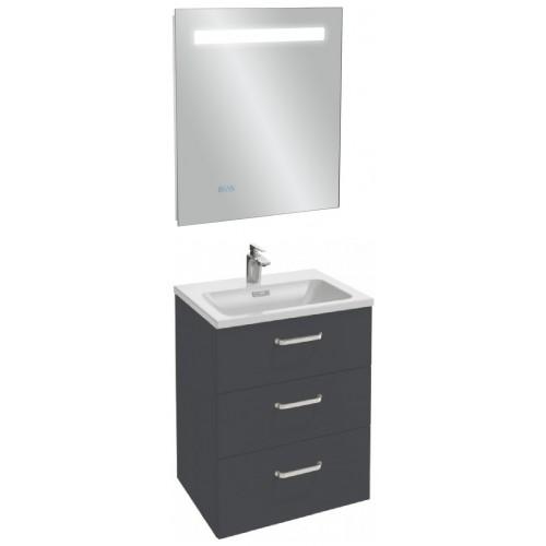 Мебель для ванной Jacob Delafon Vox 60 подвесная с 3-мя ящиками с изогнутой ручкой серый антрацит глянцевый