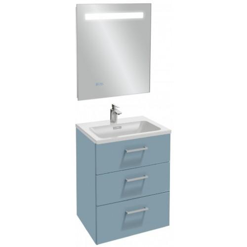 Мебель для ванной Jacob Delafon Vox 60 подвесная с 3-мя ящиками с прямоугольной ручкой матовый аквамарин