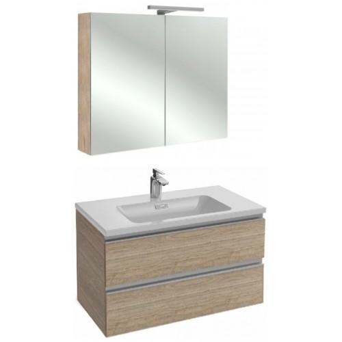 Мебель для ванной Jacob Delafon Vox 80 подвесная квебекский дуб с зеркалом-шкафом