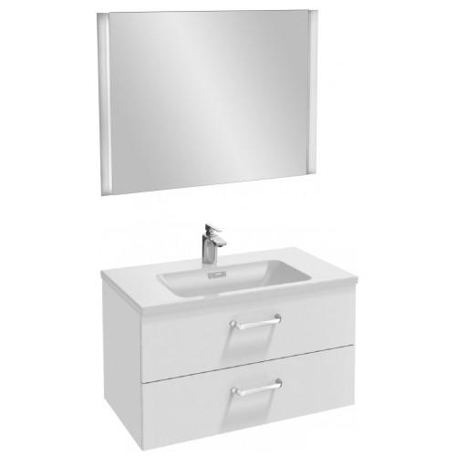 Мебель для ванной Jacob Delafon Vox 80 подвесная с 2-мя ящиками с изогнутой ручкой белый блестящий лак