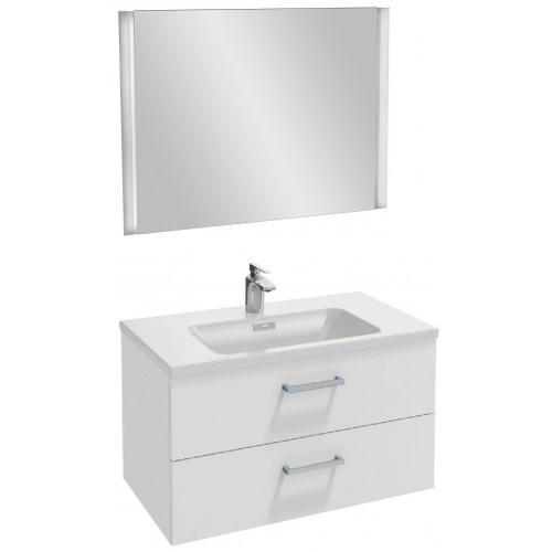 Мебель для ванной Jacob Delafon Vox 80 подвесная с 2-мя ящиками с прямоугольной ручкой белый блестящий лак