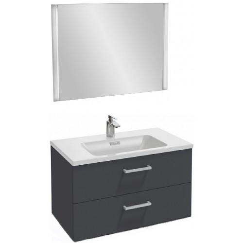 Мебель для ванной Jacob Delafon Vox 80 подвесная с 2-мя ящиками с прямоугольной ручкой серый антрацит глянцевый