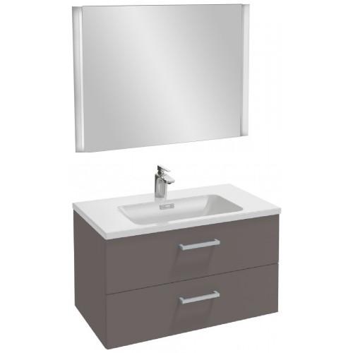 Мебель для ванной Jacob Delafon Vox 80 подвесная с 2-мя ящиками с прямоугольной ручкой светло-коричневая глянцевая