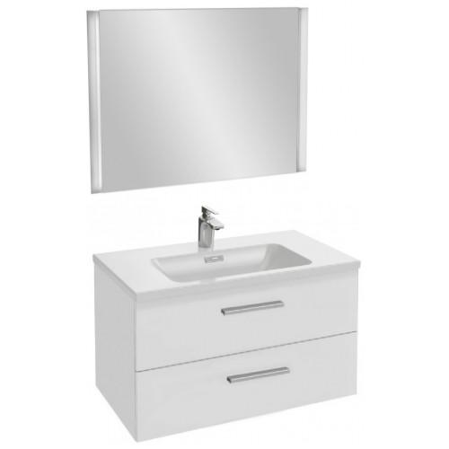 Мебель для ванной Jacob Delafon Vox 80 подвесная с 2-мя ящиками с прямой ручкой белая блестящая